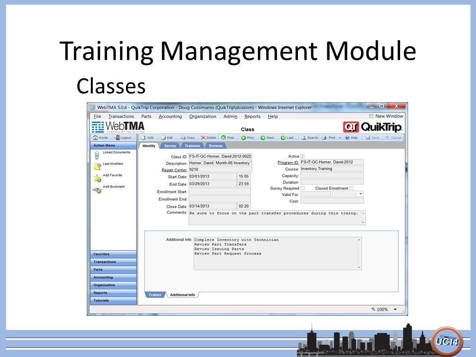 Maximizing the Training Management Module Doug Cussimanio
