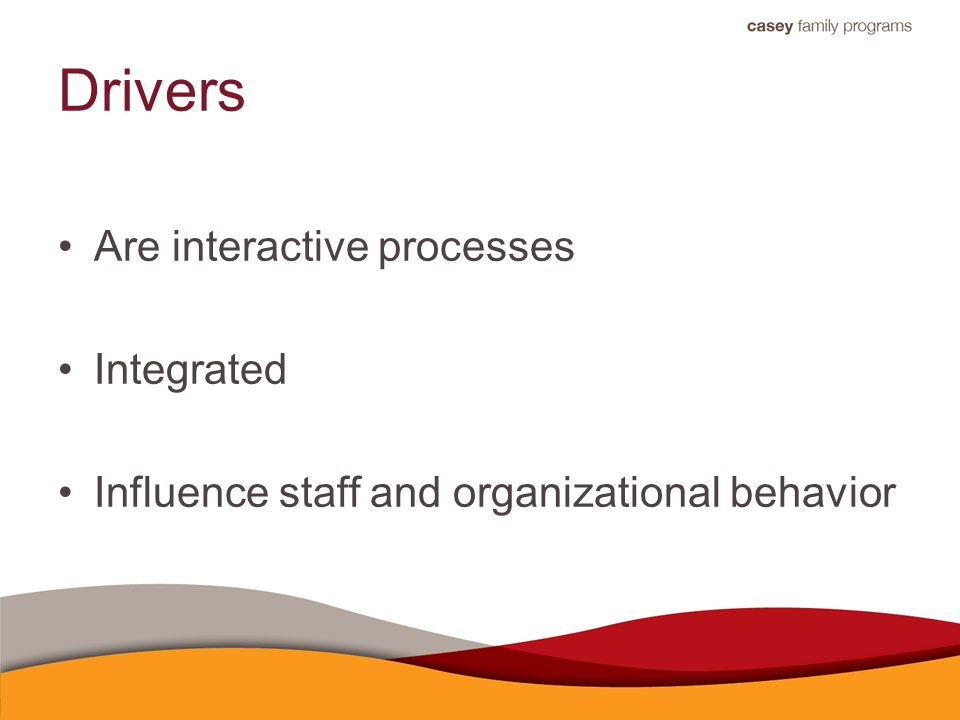 Drivers Are interactive processes Integrated Influence staff and organizational behavior