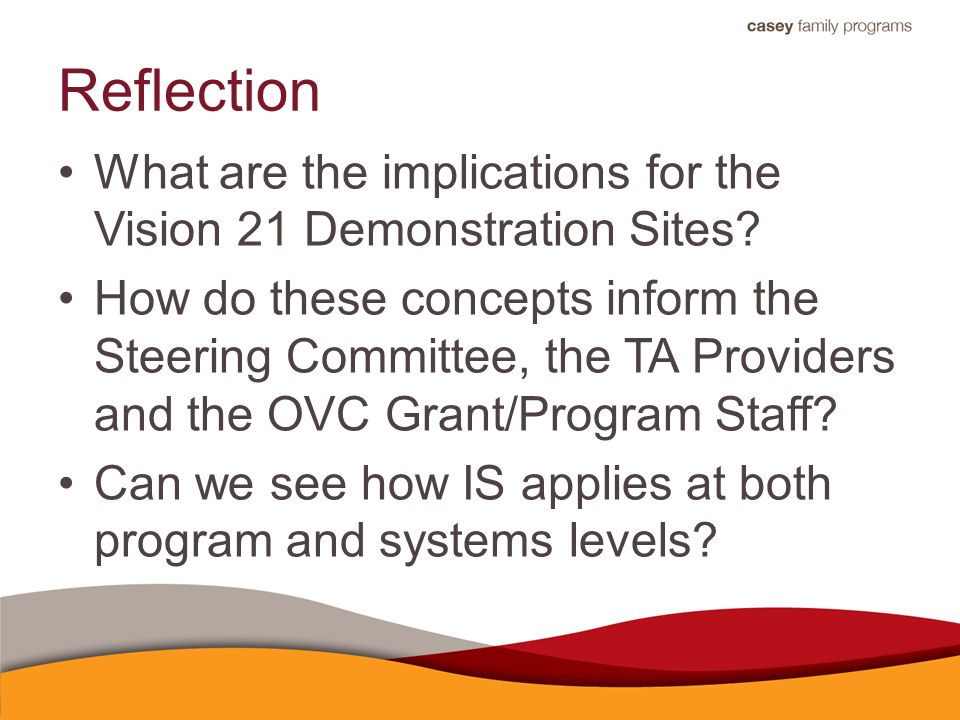 Reflection What are the implications for the Vision 21 Demonstration Sites.