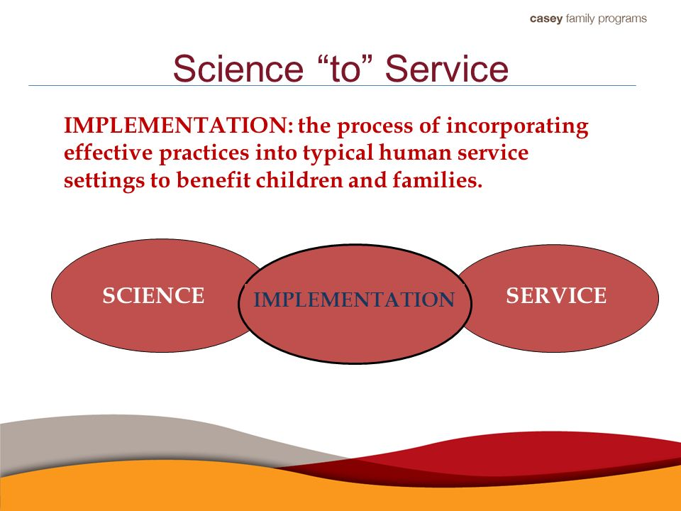 Science to Service SCIENCE SERVICE GAP IMPLEMENTATION IMPLEMENTATION: the process of incorporating effective practices into typical human service settings to benefit children and families.