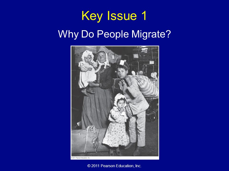 © 2011 Pearson Education, Inc. Key Issue 1 Why Do People Migrate