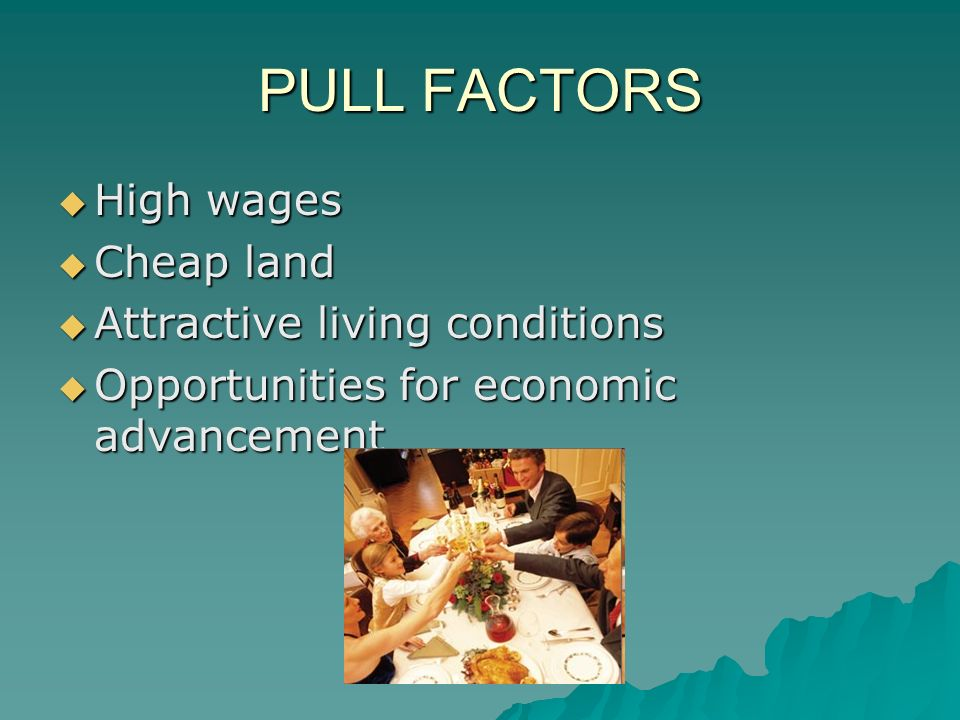 PULL FACTORS  High wages  Cheap land  Attractive living conditions  Opportunities for economic advancement