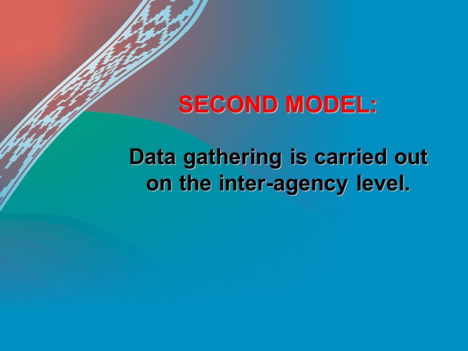 SECOND MODEL: Data gathering is carried out on the inter-agency level.