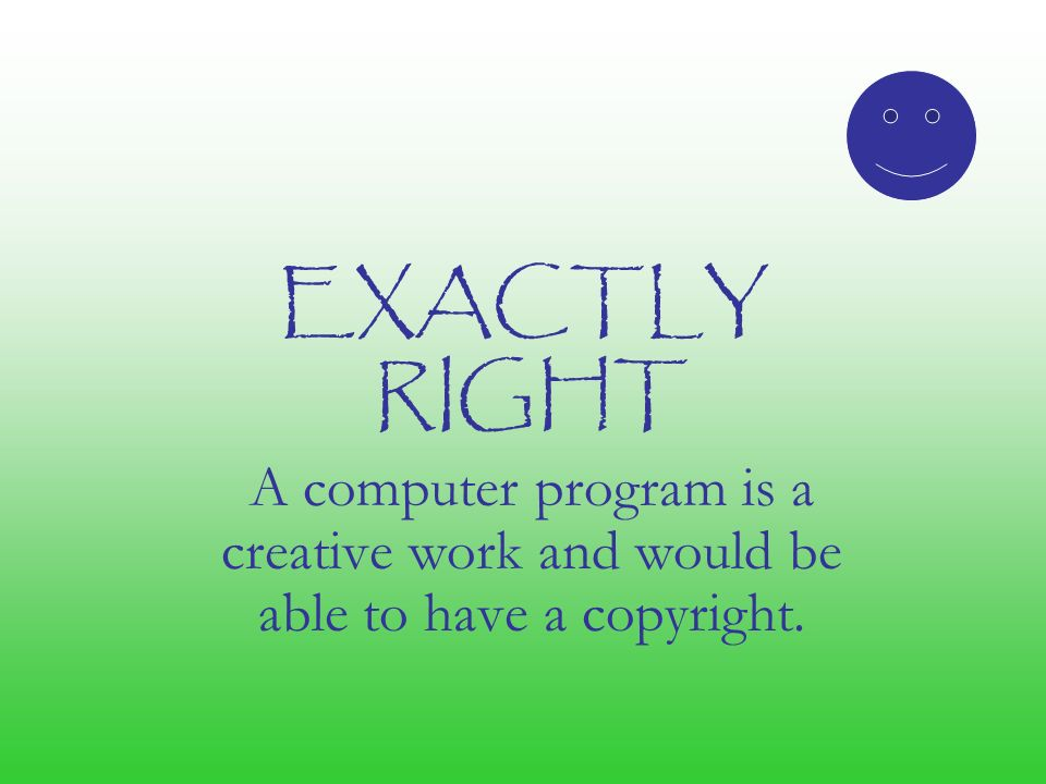 EXACTLY RIGHT A computer program is a creative work and would be able to have a copyright.
