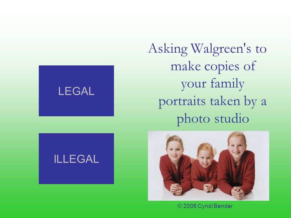 Asking Walgreen s to make copies of your family portraits taken by a photo studio ILLEGAL LEGAL © 2006 Cyndi Bender