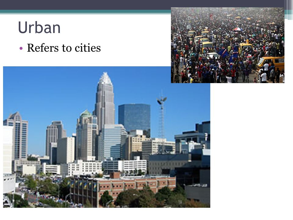 Urban Refers to cities