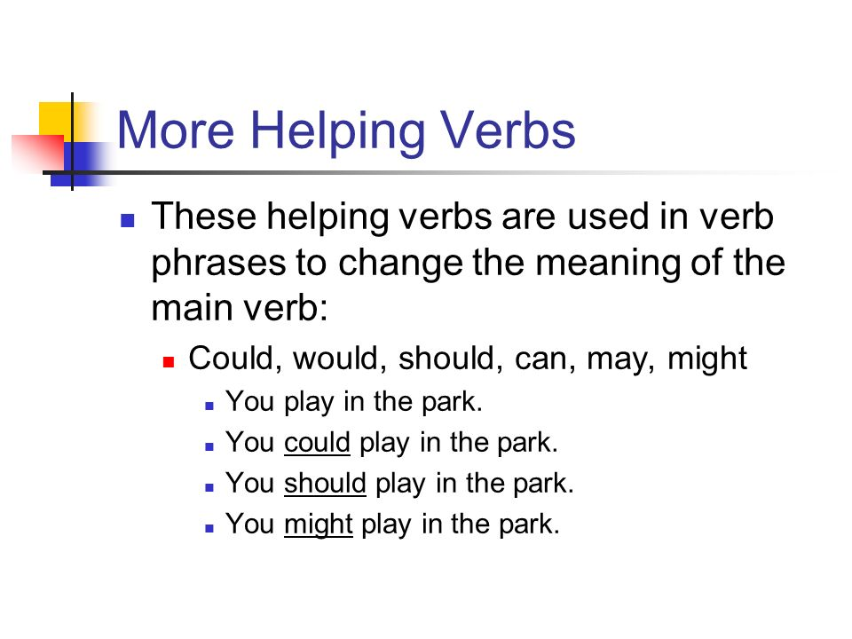 More Helping Verbs These helping verbs are used in verb phrases to change the meaning of the main verb: Could, would, should, can, may, might You play in the park.