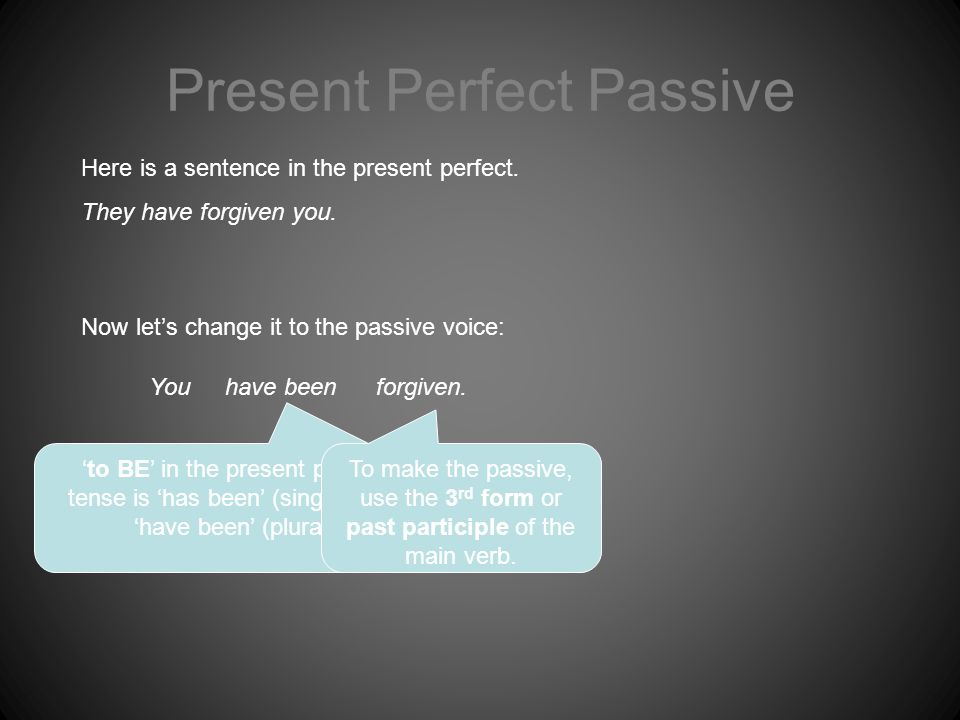 Present Perfect Passive You Here is a sentence in the present perfect.