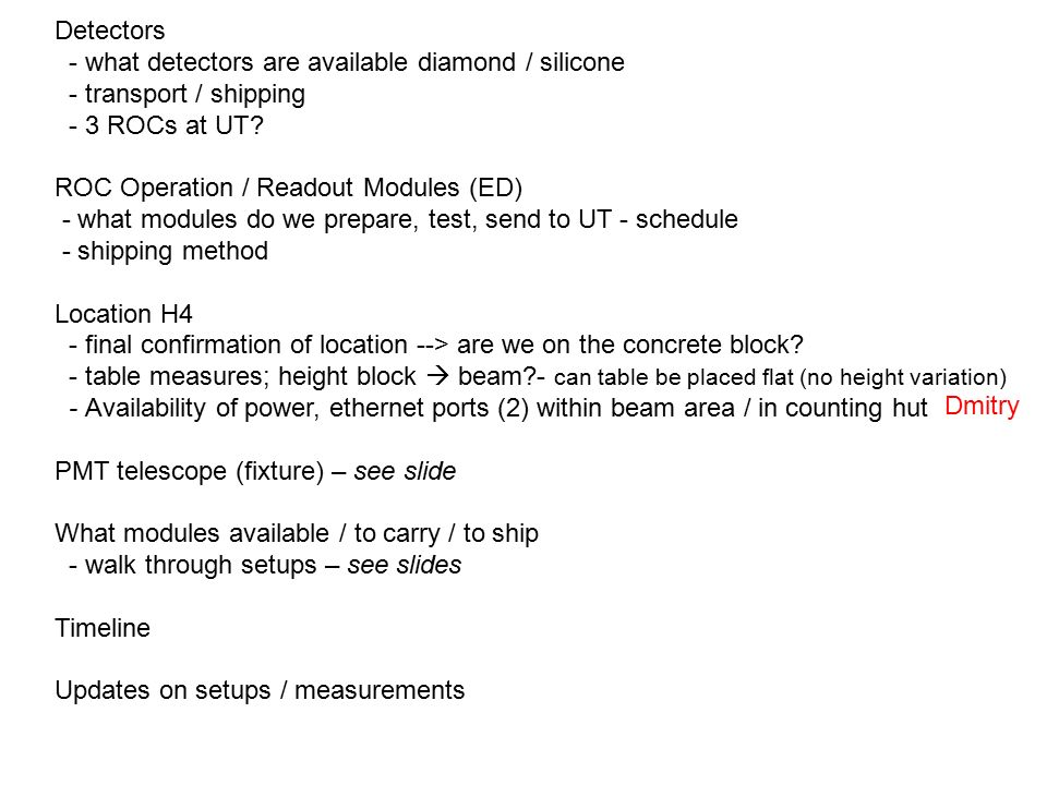 Detectors - what detectors are available diamond / silicone