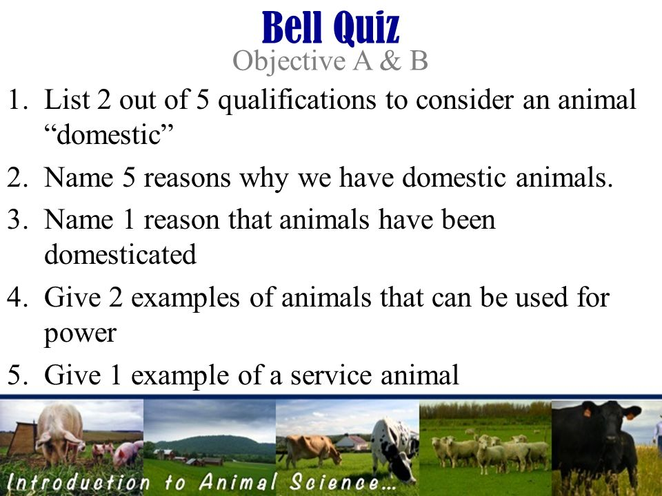 Introduction to ANIMAL SCIENCE Objectives: A List 5 functions of