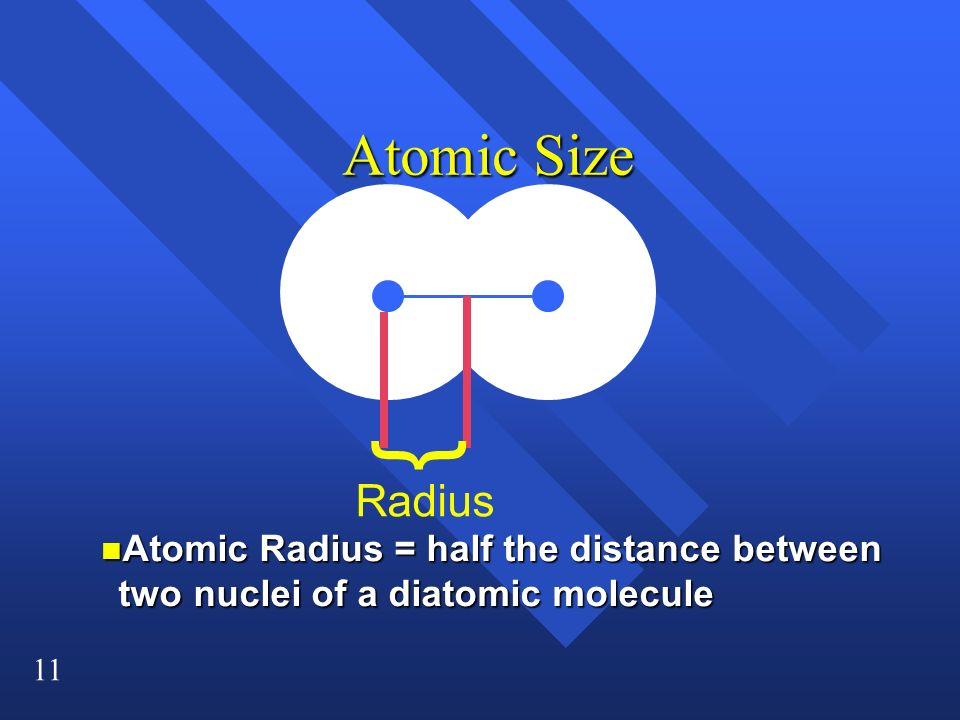11 Atomic Size n Atomic Radius = half the distance between two nuclei of a diatomic molecule } Radius