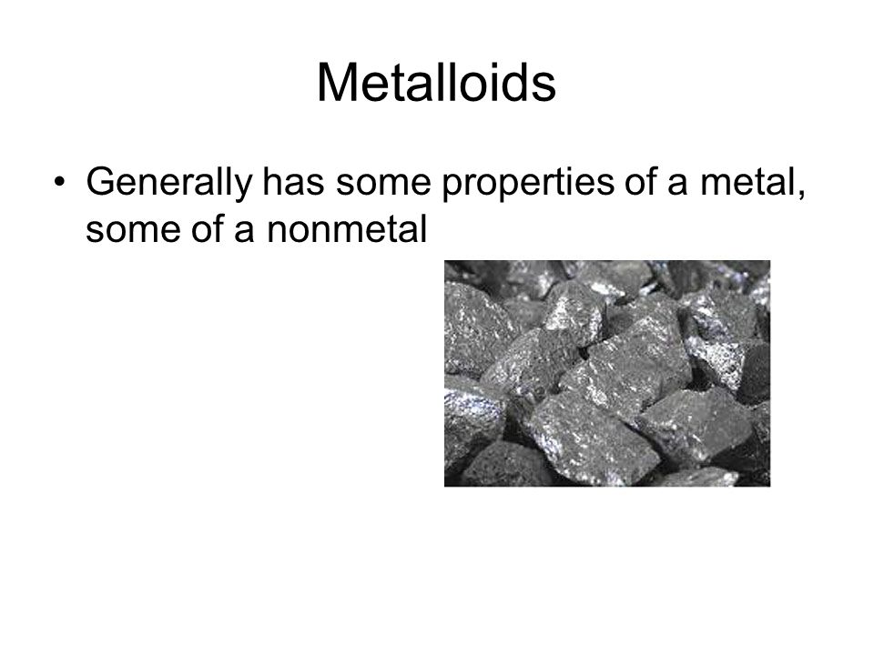 Nonmetals Poor conductors of heat and electricity Not malleable Not ductile Dull