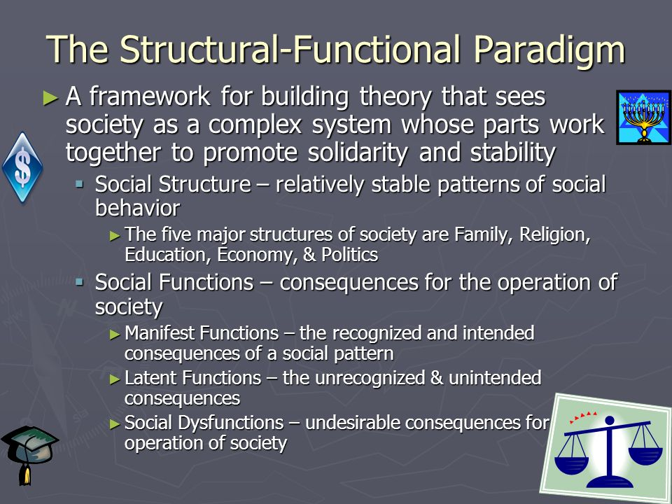 The Structural-Functional Paradigm ► A framework for building theory that sees society as a complex system whose parts work together to promote solidarity and stability  Social Structure – relatively stable patterns of social behavior ► The five major structures of society are Family, Religion, Education, Economy, & Politics  Social Functions – consequences for the operation of society ► Manifest Functions – the recognized and intended consequences of a social pattern ► Latent Functions – the unrecognized & unintended consequences ► Social Dysfunctions – undesirable consequences for the operation of society