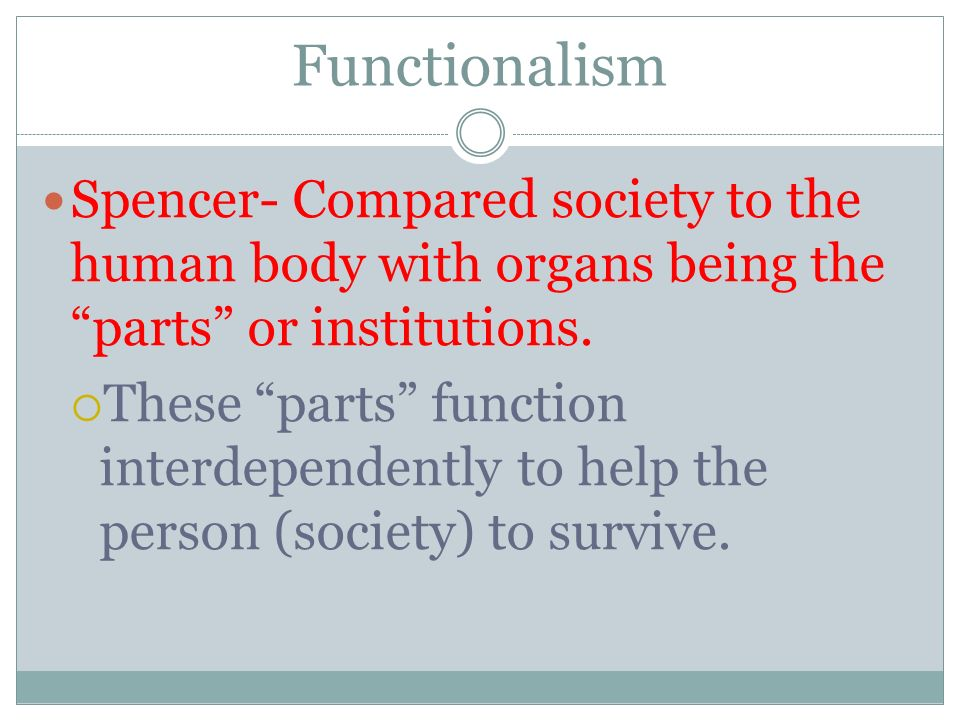 Functionalism Spencer- Compared society to the human body with organs being the parts or institutions.