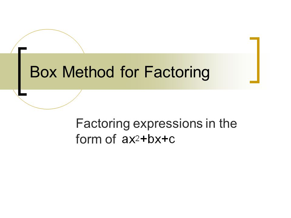 Box Method for Factoring Factoring expressions in the form of