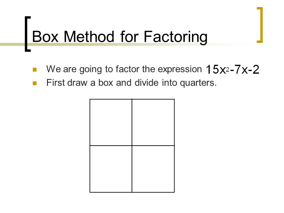 Box Method for Factoring We are going to factor the expression First draw a box and divide into quarters.