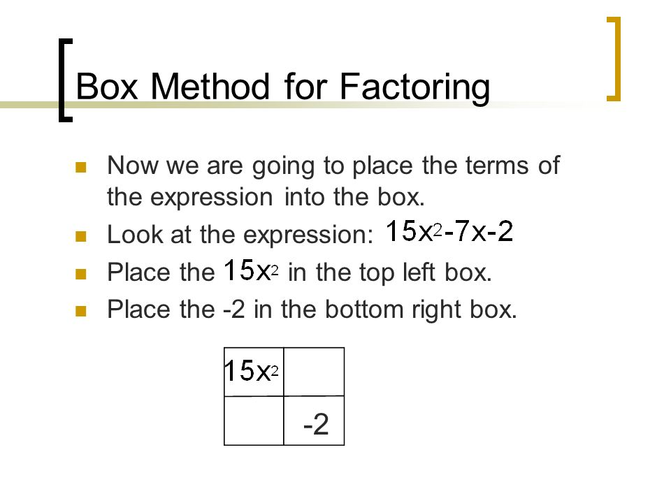 Box Method for Factoring Now we are going to place the terms of the expression into the box.