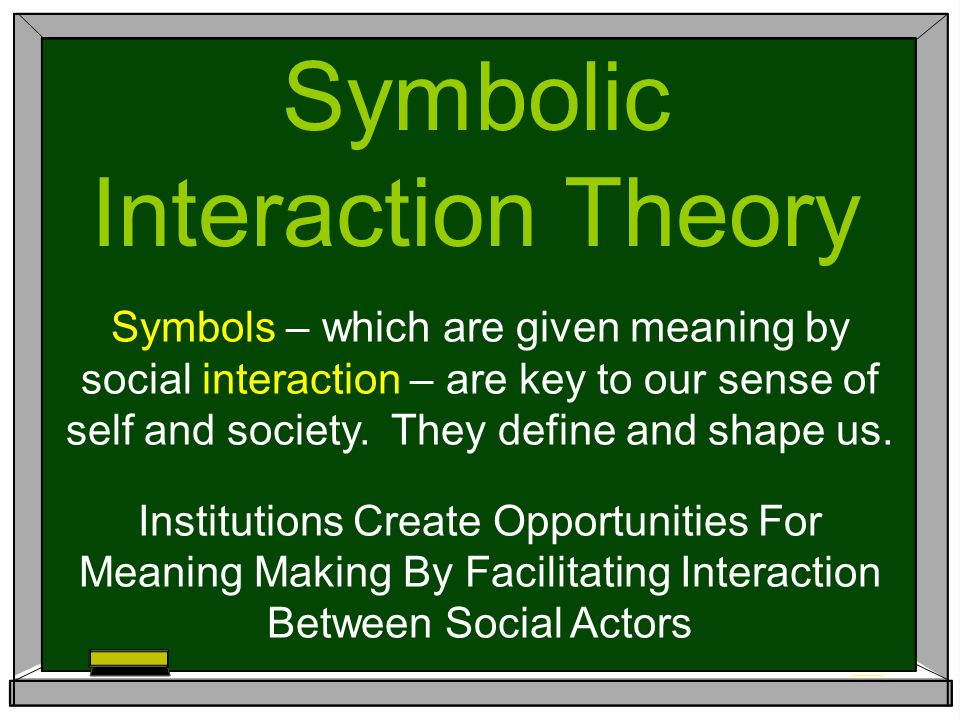 Symbolic Interaction Theory Symbols Which Are Given Meaning By