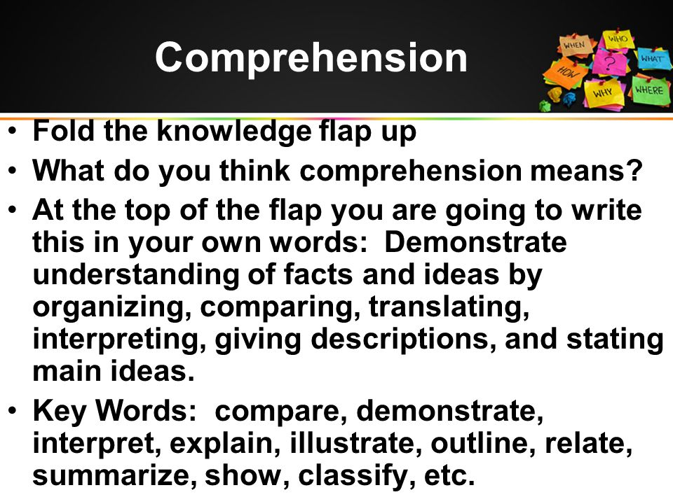 Comprehension Fold the knowledge flap up What do you think comprehension means.