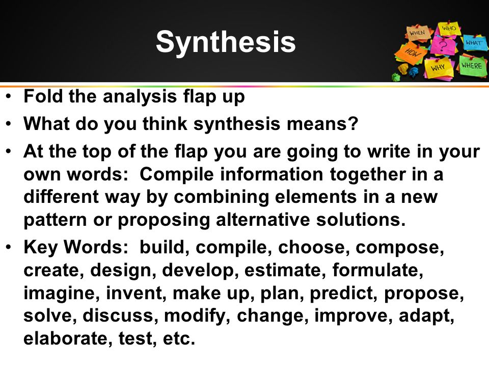 Synthesis Fold the analysis flap up What do you think synthesis means.