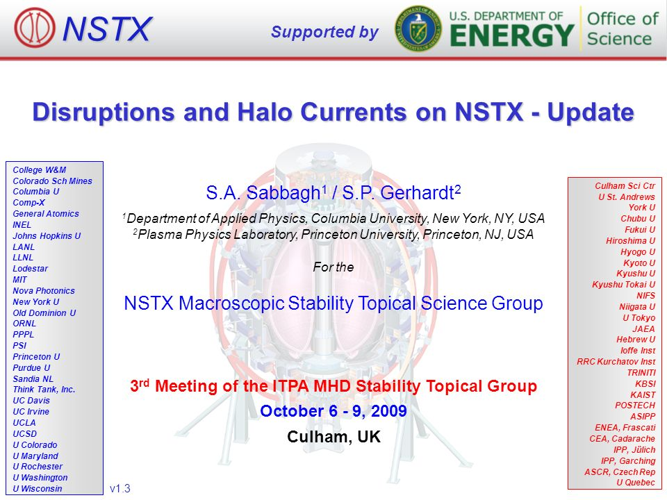 Disruptions and Halo Currents on NSTX - Update S A  Sabbagh 1 / S P