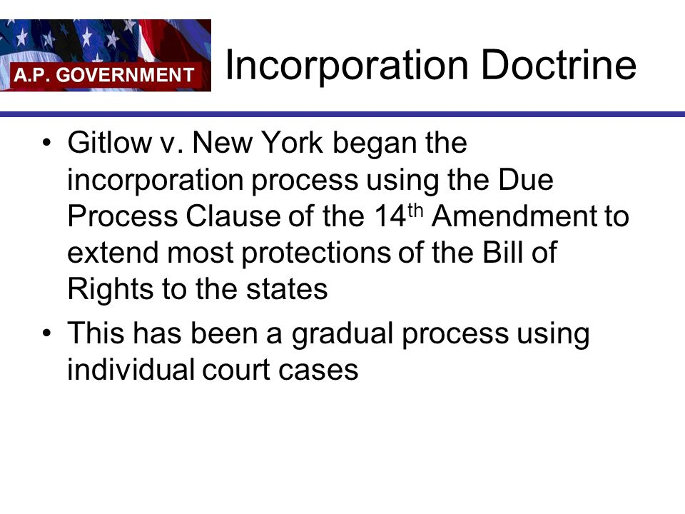 Incorporation Doctrine Gitlow v.