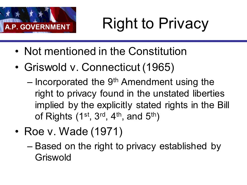 Right to Privacy Not mentioned in the Constitution Griswold v.