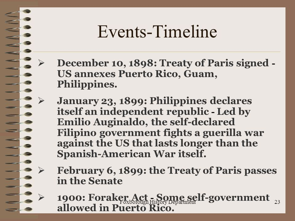 Foxborough History Department23 Events-Timeline  December 10, 1898: Treaty of Paris signed - US annexes Puerto Rico, Guam, Philippines.