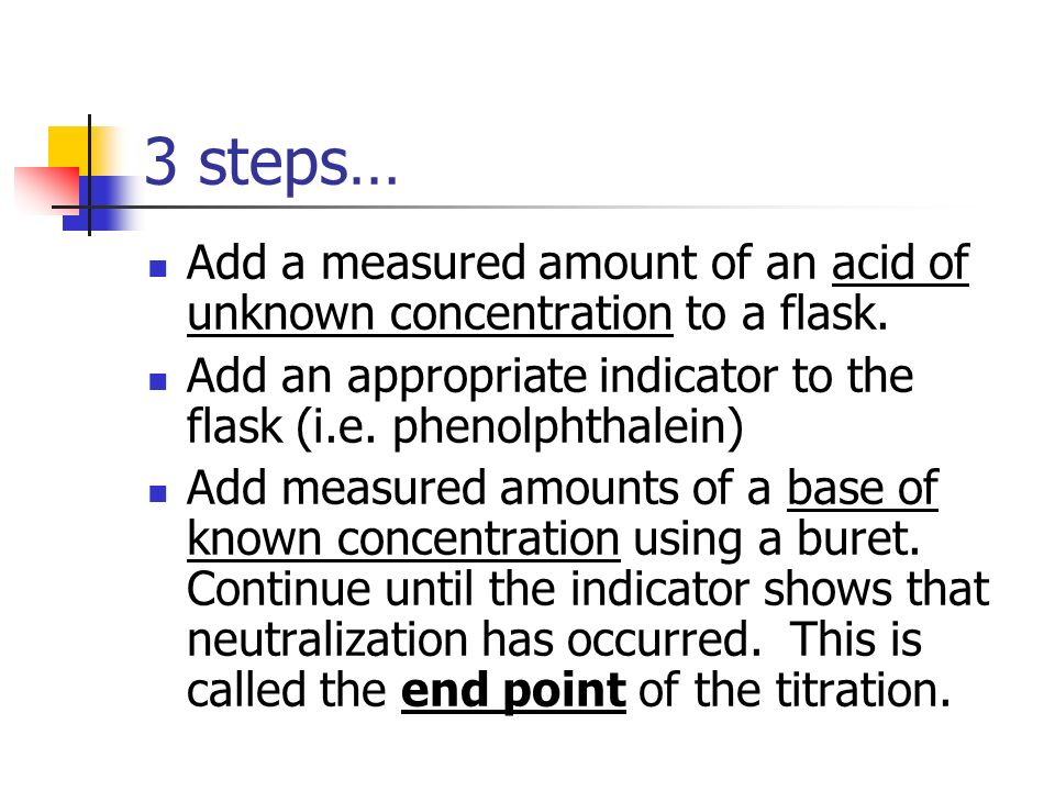 Acid-Base Titrations The amount of acid or base in a solution is determined by carrying out a neutralization reaction; an appropriate acid-base indicator (changes color in specific pH range) must be used to show when the neutralization is complete.
