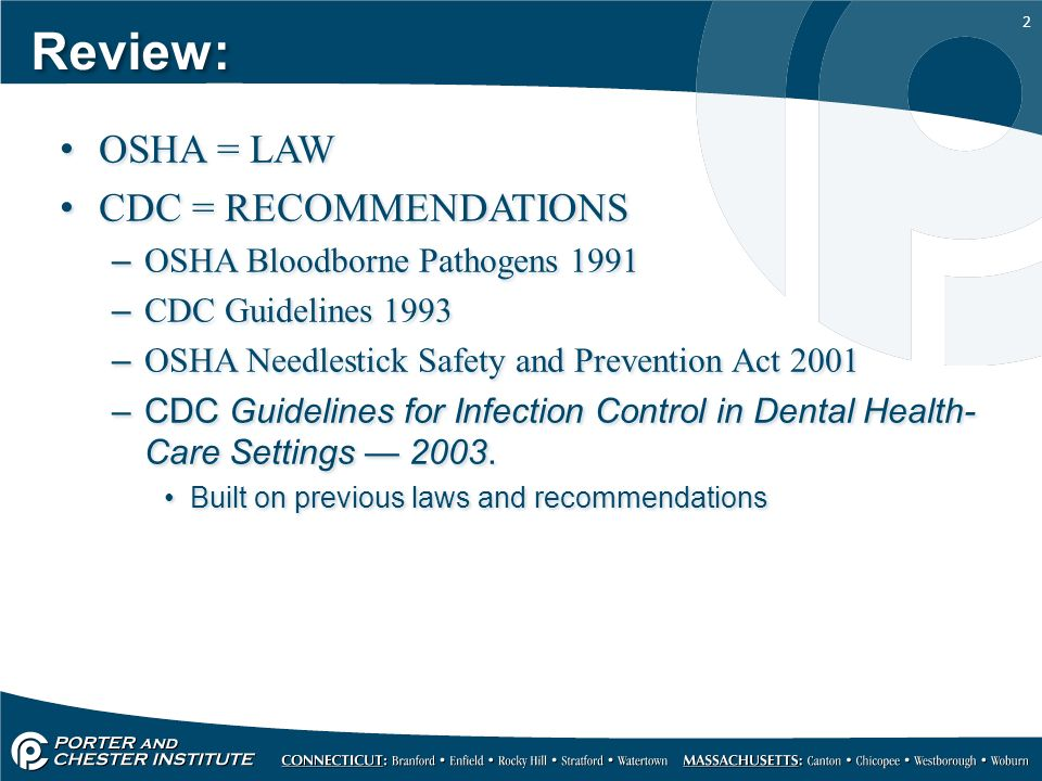 cdc guidelines for dental healthcare settings infection control da rh slideplayer com OSHA Medical OSHA Bloodborne Pathogen Standard