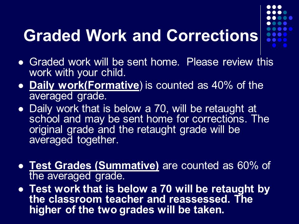 Graded Work and Corrections Graded work will be sent home.