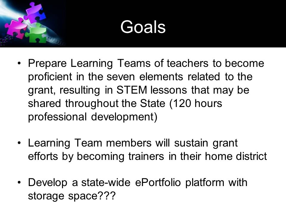 Goals Prepare Learning Teams of teachers to become proficient in the seven elements related to the grant, resulting in STEM lessons that may be shared throughout the State (120 hours professional development) Learning Team members will sustain grant efforts by becoming trainers in their home district Develop a state-wide ePortfolio platform with storage space