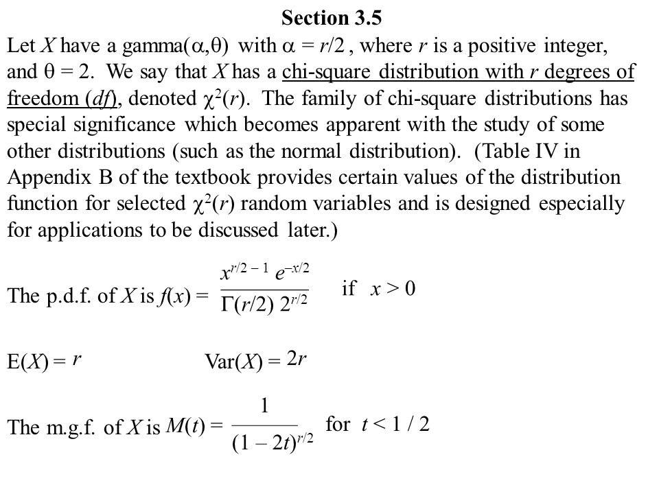 Section 3 5 Let X Have A Gamma  Ef 81 A1  Ef 81 B1 With  Ef 81 A1 R