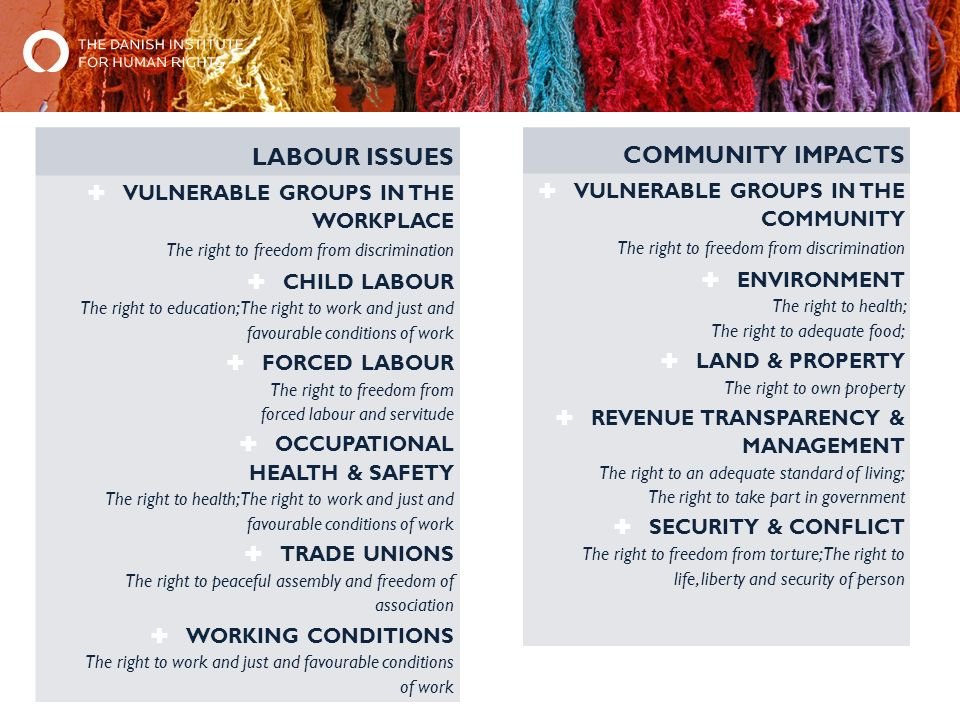LABOUR ISSUES  VULNERABLE GROUPS IN THE WORKPLACE The right to freedom from discrimination  CHILD LABOUR The right to education; The right to work and just and favourable conditions of work  FORCED LABOUR The right to freedom from forced labour and servitude  OCCUPATIONAL HEALTH & SAFETY The right to health; The right to work and just and favourable conditions of work  TRADE UNIONS The right to peaceful assembly and freedom of association  WORKING CONDITIONS The right to work and just and favourable conditions of work COMMUNITY IMPACTS  VULNERABLE GROUPS IN THE COMMUNITY The right to freedom from discrimination  ENVIRONMENT The right to health; The right to adequate food;  LAND & PROPERTY The right to own property  REVENUE TRANSPARENCY & MANAGEMENT The right to an adequate standard of living; The right to take part in government  SECURITY & CONFLICT The right to freedom from torture; The right to life, liberty and security of person