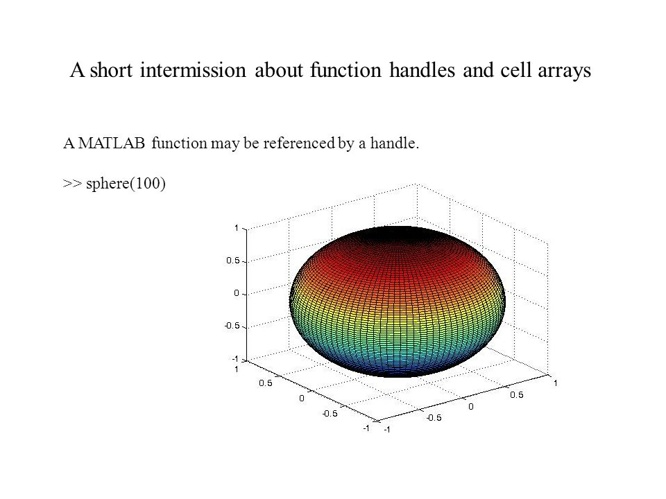 A short intermission about function handles and cell arrays A MATLAB