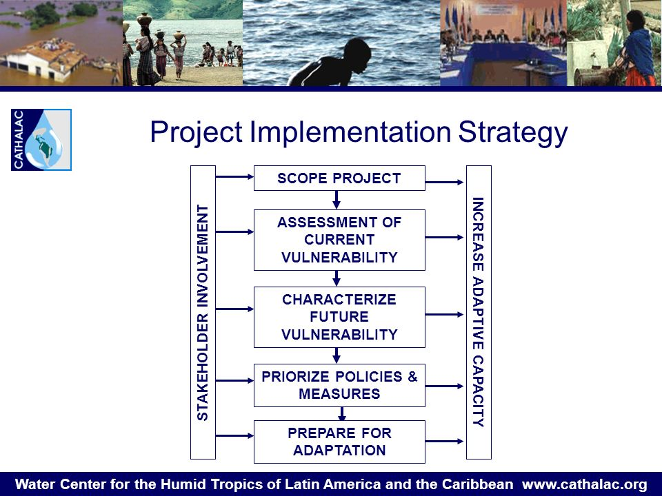 Water Center for the Humid Tropics of Latin America and the Caribbean   Project Implementation Strategy SCOPE PROJECT CHARACTERIZE FUTURE VULNERABILITY PRIORIZE POLICIES & MEASURES PREPARE FOR ADAPTATION STAKEHOLDER INVOLVEMENT INCREASE ADAPTIVE CAPACITY ASSESSMENT OF CURRENT VULNERABILITY
