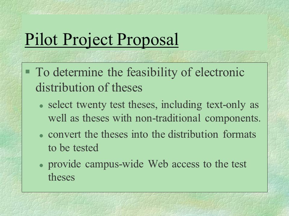 feasibility thesis Keeping these simple strategies in mind when developing a dissertation or thesis can help you to successfully develop a feasible study and avoid many of the pitfalls experienced by graduate students.