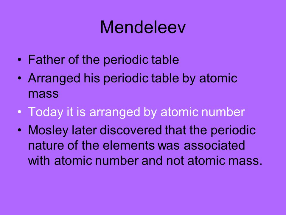 Review when looking at atoms what three numbers are the same how 27 mendeleev father of the periodic table arranged his periodic table by atomic mass today urtaz Images