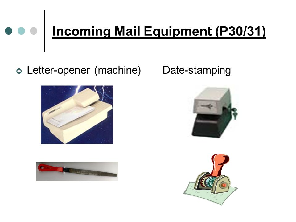Incoming Mail Equipment (P30/31) Letter-opener (machine) Date-stamping