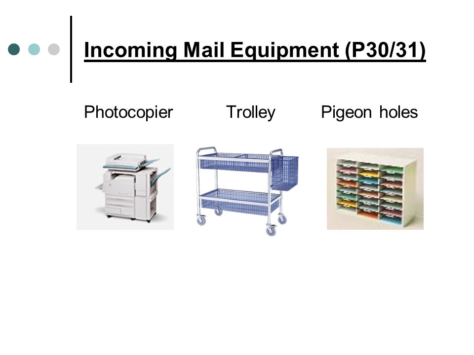 Incoming Mail Equipment (P30/31) PhotocopierTrolleyPigeon holes