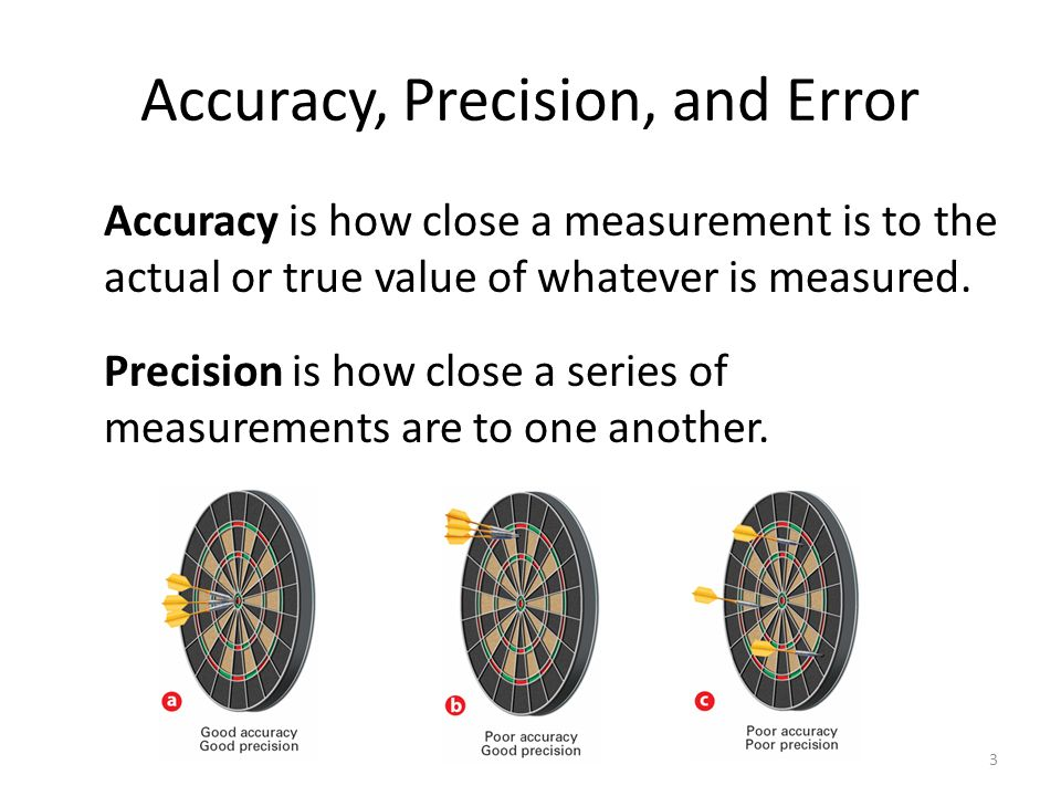 Accuracy, Precision, and Error Accuracy is how close a measurement is to the actual or true value of whatever is measured.
