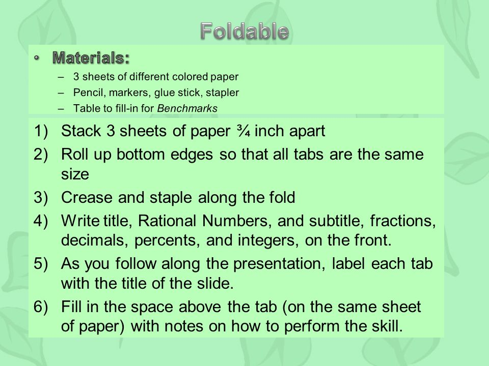 1)Stack 3 sheets of paper ¾ inch apart 2)Roll up bottom edges so that all tabs are the same size 3)Crease and staple along the fold 4)Write title, Rational Numbers, and subtitle, fractions, decimals, percents, and integers, on the front.