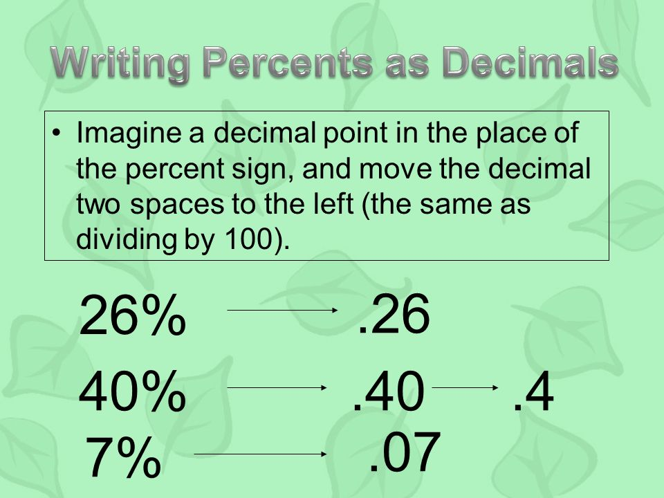 Imagine a decimal point in the place of the percent sign, and move the decimal two spaces to the left (the same as dividing by 100).
