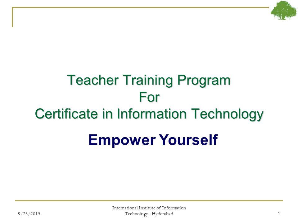 Teacher Training Program For Certificate In Information Technology