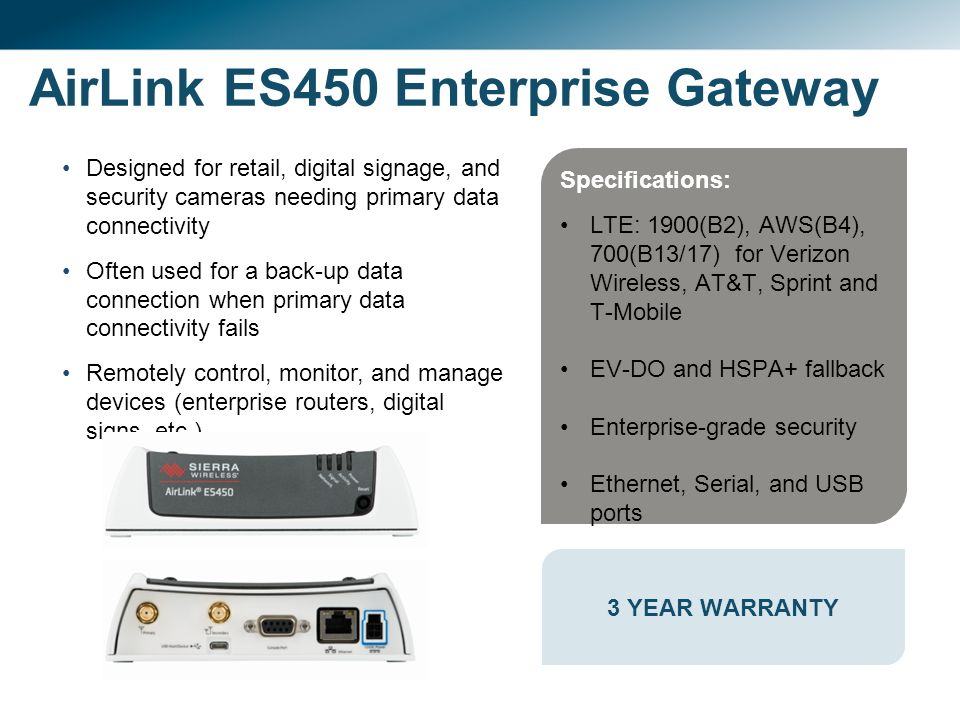 Sierra Wireless AirLink ® Gateways, Modems and Solutions