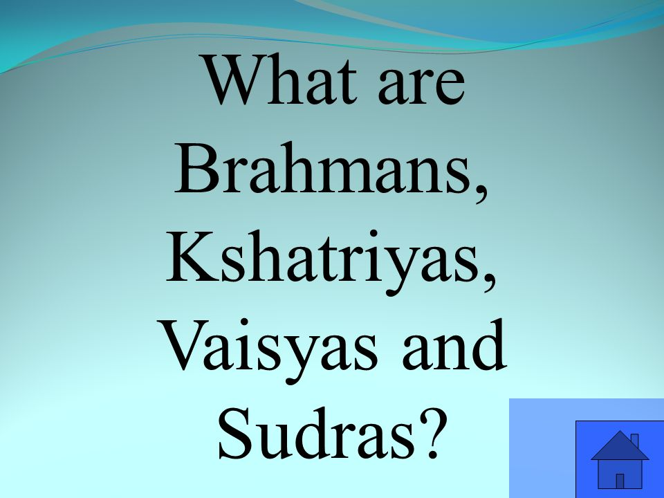 What are Brahmans, Kshatriyas, Vaisyas and Sudras