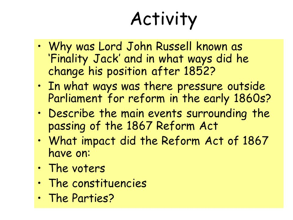 Activity Why was Lord John Russell known as 'Finality Jack' and in what ways did he change his position after 1852.