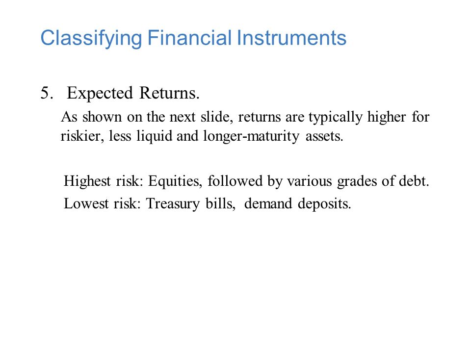 Classifying Financial Instruments 5.Expected Returns.
