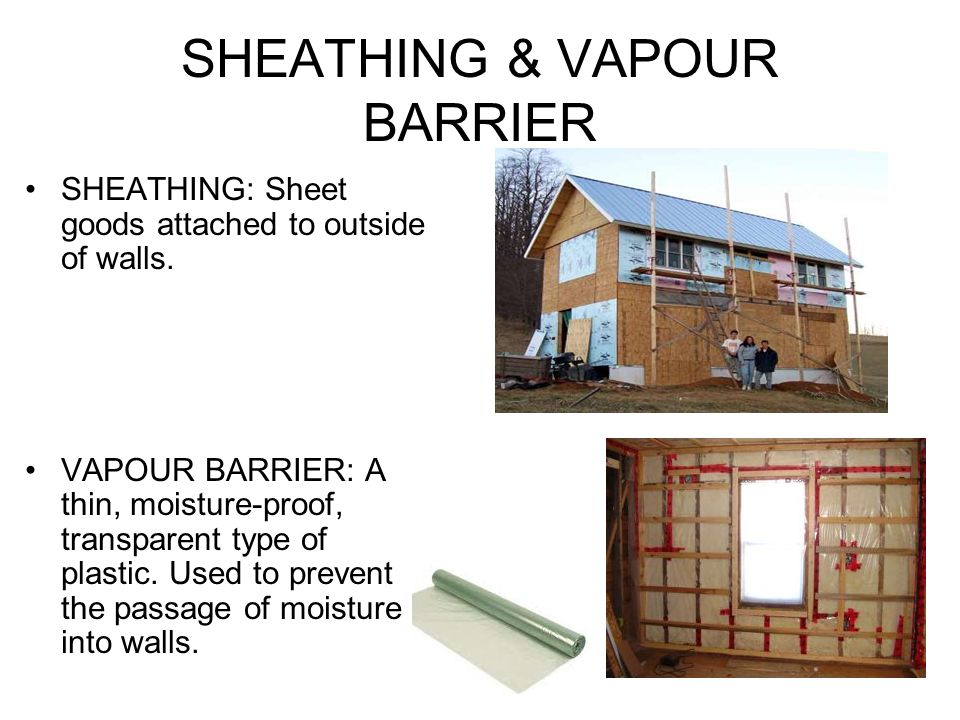 SHEATHING & VAPOUR BARRIER SHEATHING: Sheet goods attached to outside of walls.