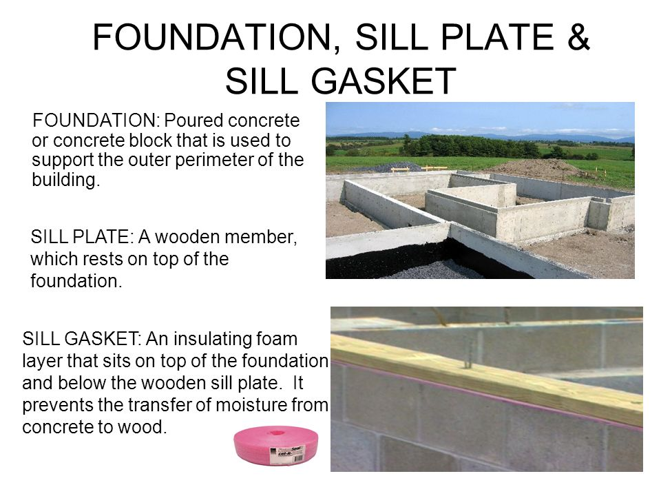 FOUNDATION, SILL PLATE & SILL GASKET FOUNDATION: Poured concrete or concrete block that is used to support the outer perimeter of the building.